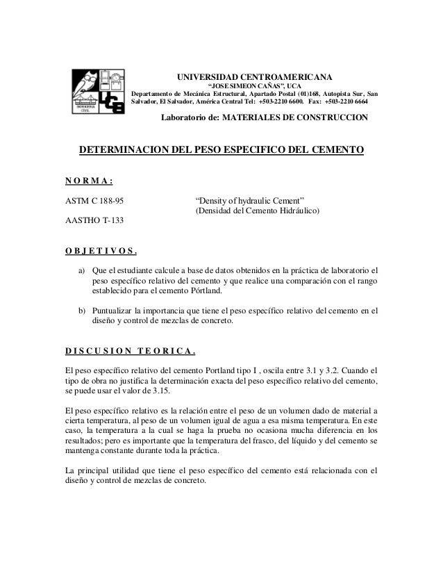 "UNIVERSIDAD CENTROAMERICANA ""JOSE SIMEON CAÑAS"", UCA Departamento de Mecánica Estructural, Apartado Postal (01)168, Autopi..."