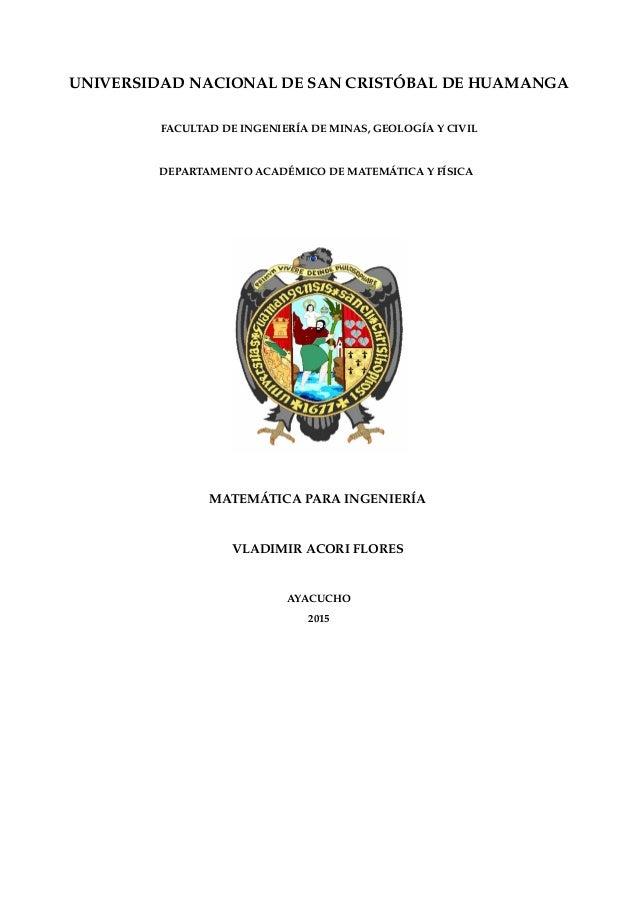UNIVERSIDAD NACIONAL DE SAN CRISTÓBAL DE HUAMANGA FACULTAD DE INGENIERÍA DE MINAS, GEOLOGÍA Y CIVIL DEPARTAMENTO ACADÉMICO...