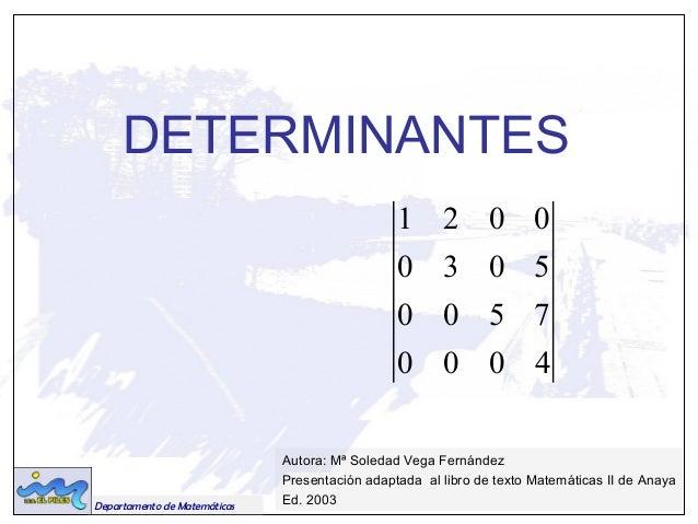 DETERMINANTES  Departamento de Matemáticas  1 2 0 0  0 3 0 5  0 0 5 7  0 0 0 4  Autora: Mª Soledad Vega Fernández  Present...