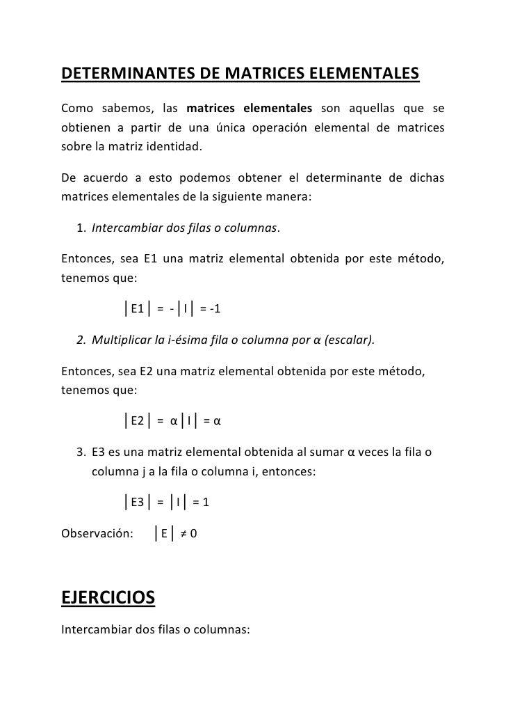 Determinantes de matrices elementales