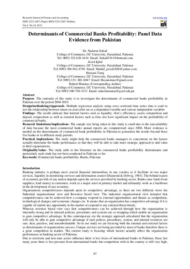 Research Journal of Finance and Accounting www.iiste.org ISSN 2222-1697 (Paper) ISSN 2222-2847 (Online) Vol.4, No.10, 2013...