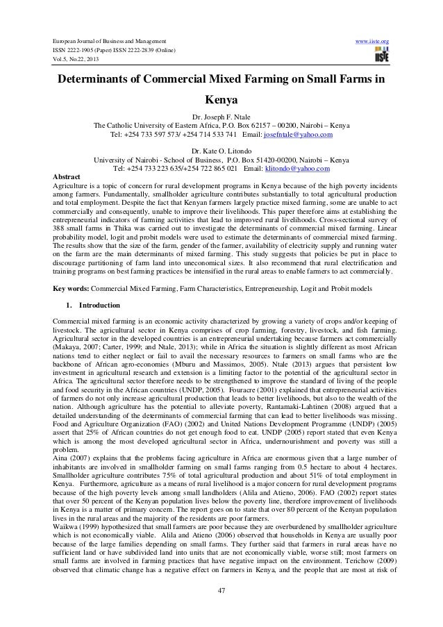 Determinants of commercial mixed farming on small farms in kenya
