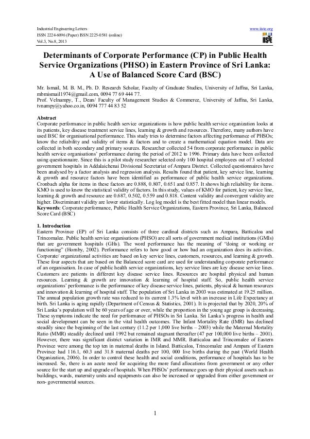 Determinants of corporate performance (cp) in public health service organizations (phso) in eastern province of sri lanka a use of balanced score card (bsc)