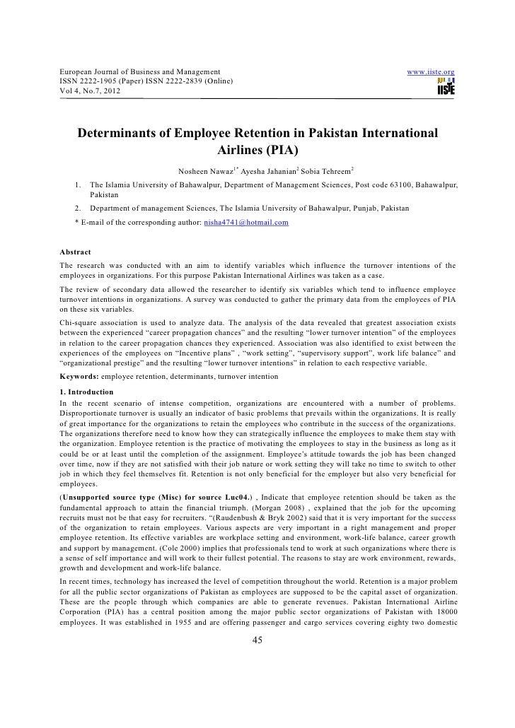 Determinants of employee retention in pakistan international airlines