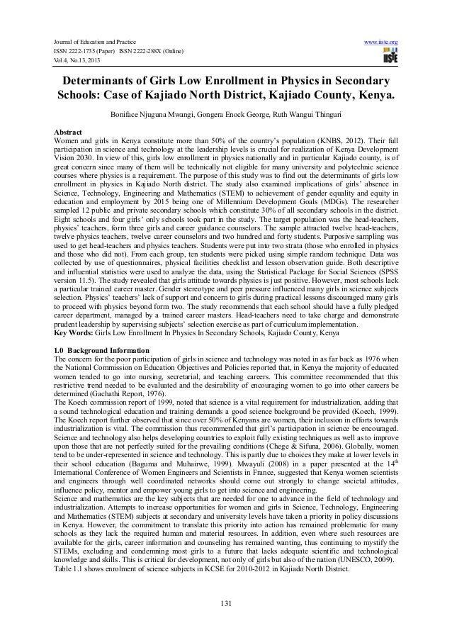 Journal of Education and Practice www.iiste.org ISSN 2222-1735 (Paper) ISSN 2222-288X (Online) Vol.4, No.13, 2013 131 Dete...