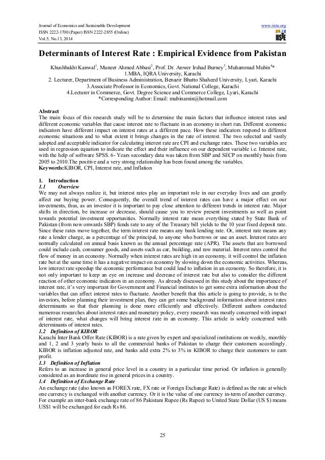 Determinants of interest rate  empirical evidence from pakistan