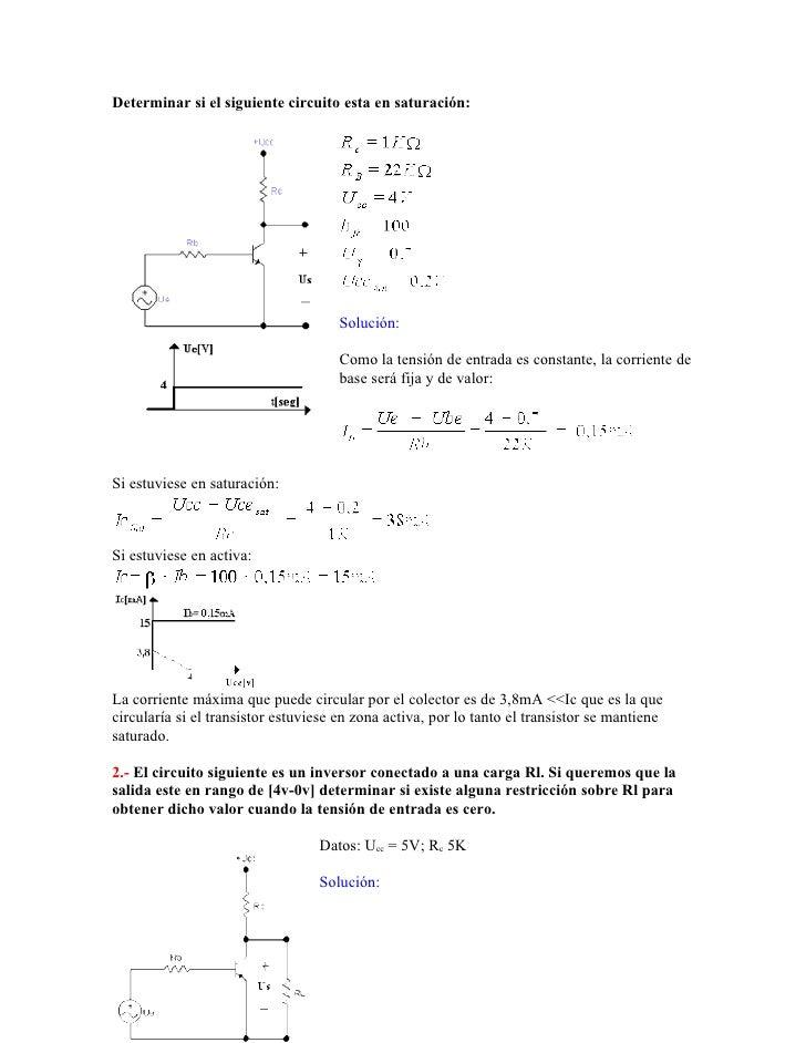 Determinar si el siguiente circuito esta en saturación:                                          Solución:                ...