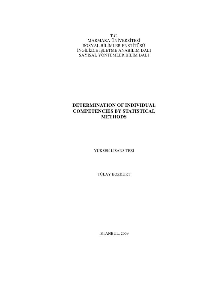 Determination of individual competencies by statistical methods yuksek lisans tezi tulay bozkurt 192215582006001