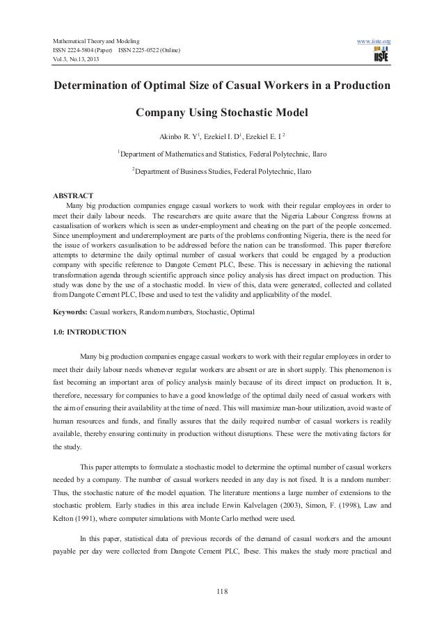 Determination of optimal size of casual workers in a production company using stochastic model