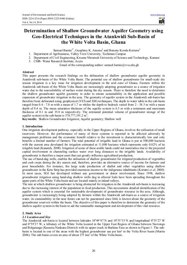 Determination of shallow groundwater aquifer geometry using geo electrical techniques in the atankwidi sub-basin of the white volta basin, ghana