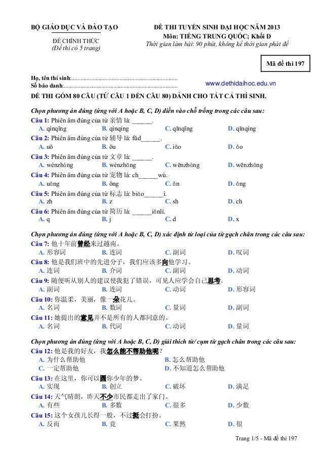 De thi dai hoc mon tieng trung khoi d năm 2013 ma de thi 197