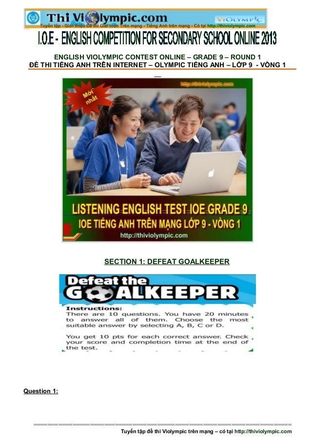 Đề thi IOE Tiếng  Anh trên mạng lớp 9 Vòng 1