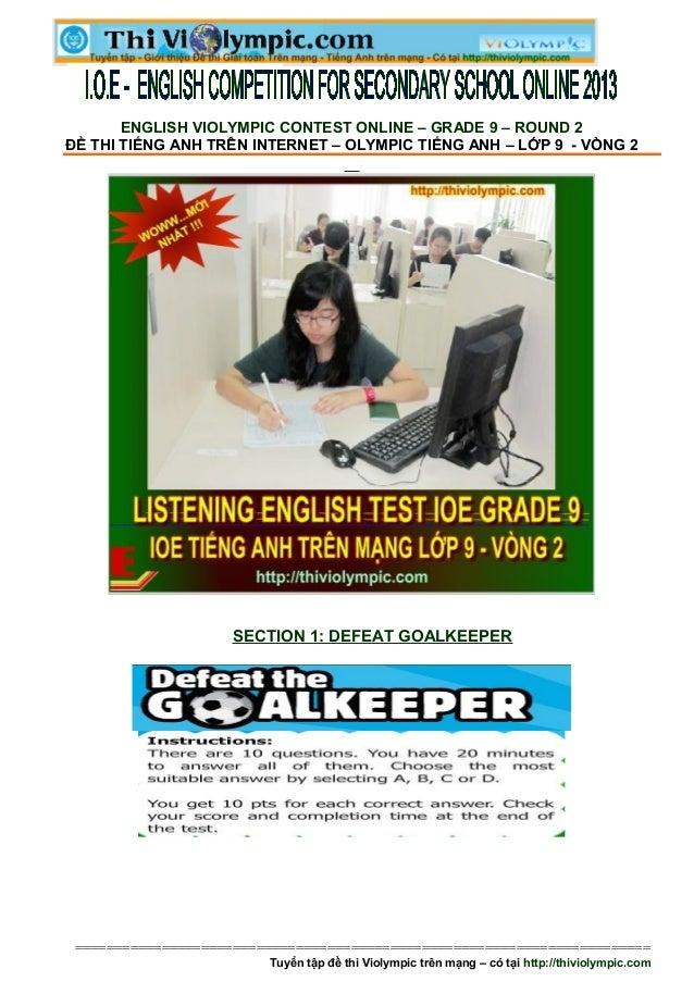 Đề thi IOE Tiếng  Anh trên mạng lớp 9 Vòng 2