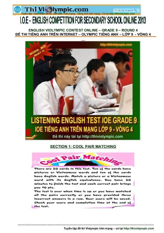 Đề thi IOE Tiếng  Anh trên mạng lớp 9 Vòng 4