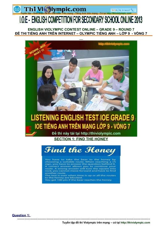Đề thi IOE Tiếng Anh Lớp 9 - Vòng 7 - 2013- 2014