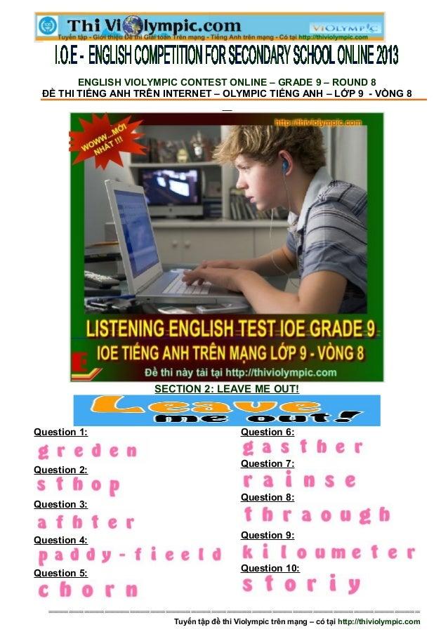 Đề thi IOE Tiếng Anh Lớp 9 - Vòng 8 - 2013- 2014