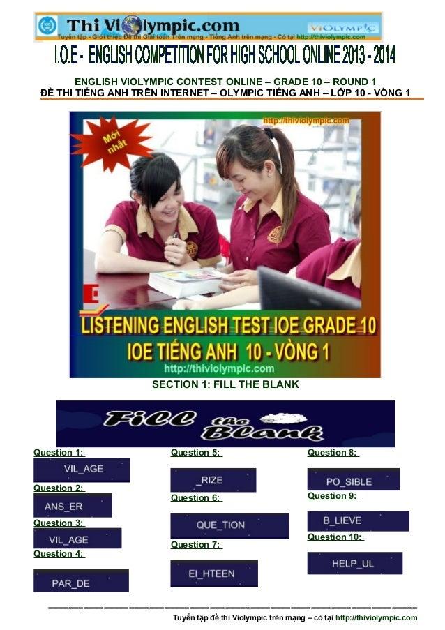 Đề thi IOE  Lớp 10  - Vòng 1 - Năm học 2013 - 2014