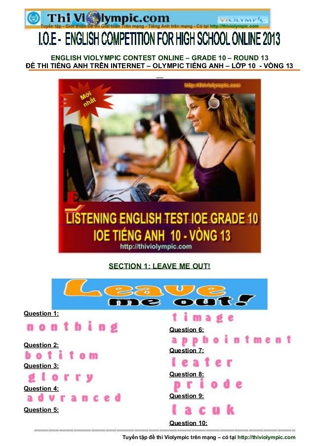 Đề thi IOE Tiếng Anh Lớp 10 - Vòng 13- 2013- 2014