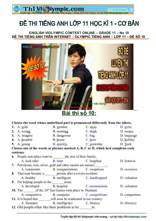 Đề thi Tiếng Anh ôn luyện cuối học kì - Đề số 10