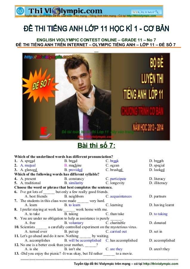Đề thi Tiếng Anh ôn luyện cuối học kì - Đề số 7