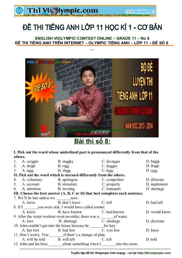 Đề thi Tiếng Anh ôn luyện cuối học kì - Đề số 8
