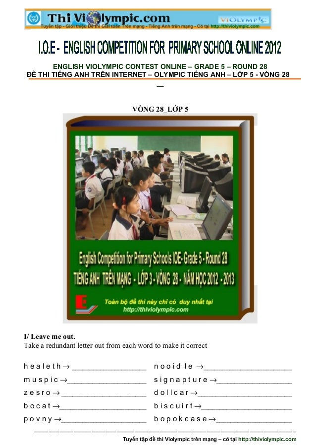 Đề thi Tiếng Anh trên mạng - IOE - Lớp 5 - vòng 28
