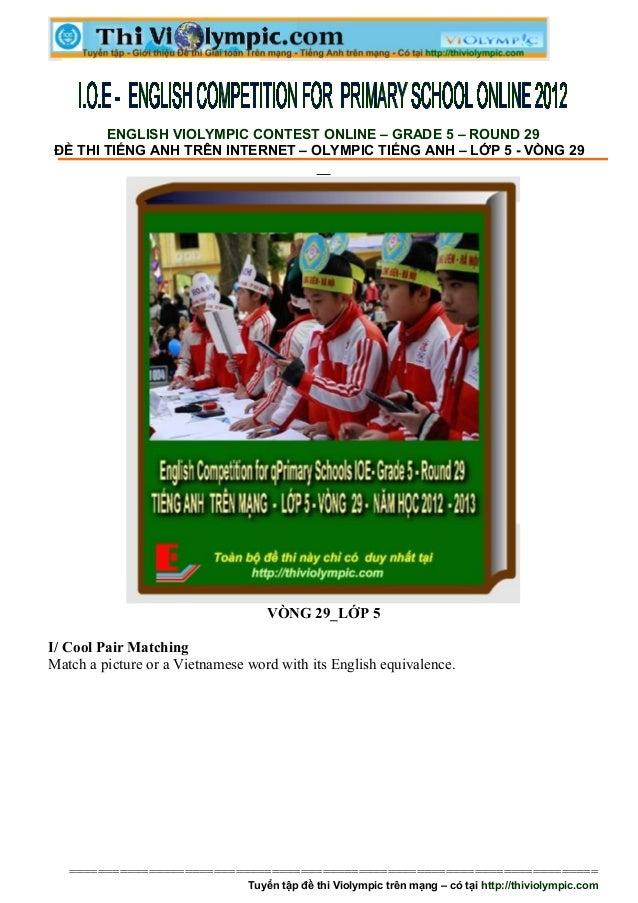 De thi tieng anh tren mang  lop 5   vong 29 - 2011