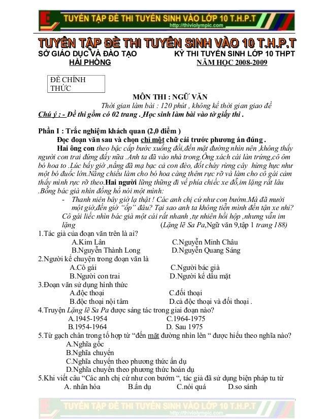 Đề thi Tuyển Sinh vào 10 THPT - Môn Ngữ Văn - Hải Phòng - Năm học 2008 - 2009