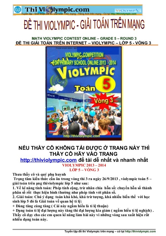 MATH VIOLYMPIC CONTEST ONLINE – GRADE 5 – ROUND 3 ĐỀ THI GIẢI TOÁN TRÊN INTE