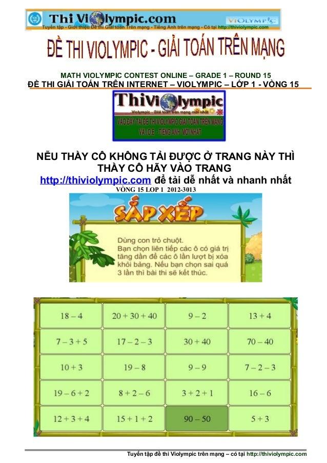 Đề thi Violympic Giải toán trên mạng Lớp 1 - vòng 15 - Cấp huyện - năm học 2012 - 2013