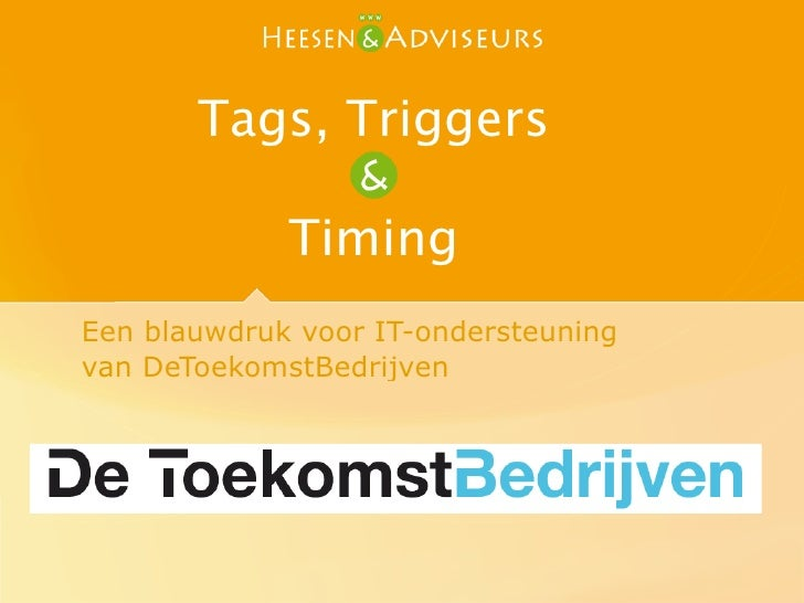 Tags, Triggers & Timing. Event Driven Account managment.