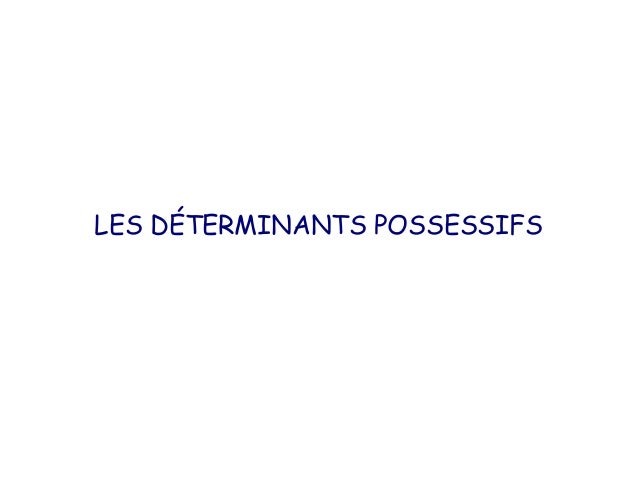 LES DÉTERMINANTS POSSESSIFS