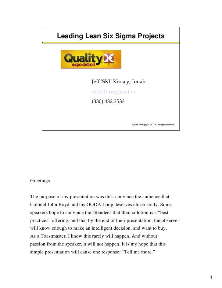 Leading Lean Six Sigma Projects                                    Jeff 'SKI' Kinsey, Jonah                               ...
