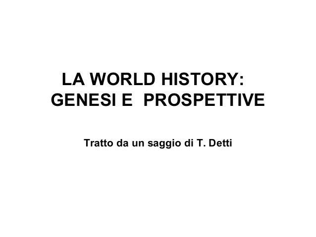 La World History: genesi e prospettive