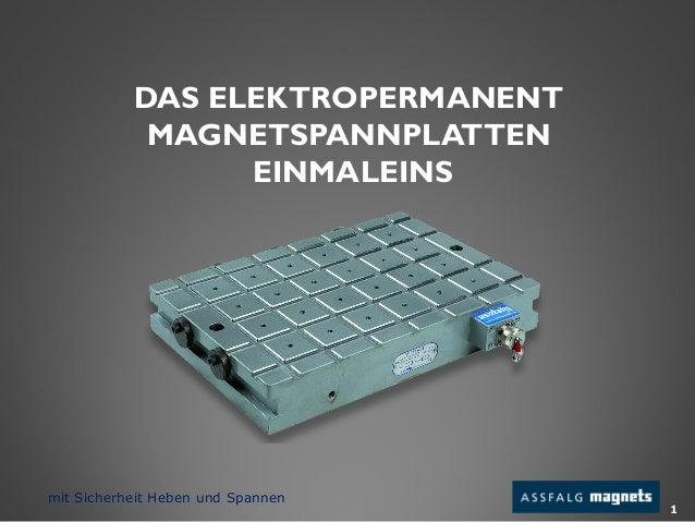 DAS ELEKTROPERMANENT MAGNETSPANNPLATTEN EINMALEINS 1 mit Sicherheit Heben und Spannen