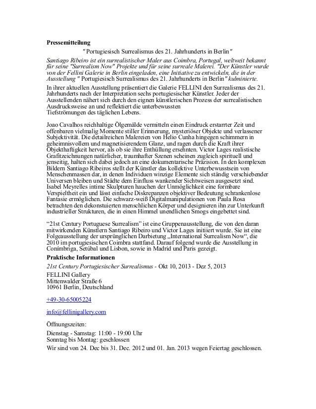 """Pressemitteilung """" Portugiesisch Surrealismus des 21. Jahrhunderts in Berlin"""" Santiago Ribeiro ist ein surrealistischer Ma..."""