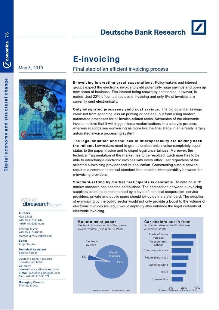 Deutsche bank final step of an efficient invoicing process 030510