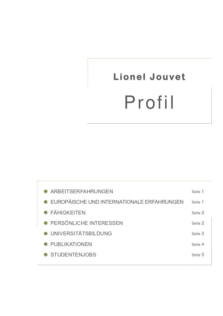 Lionel Jouvet                         ProfilARBEITSERFAHRUNGEN                           Seite   1EUROPÄISCHE UND INTERNAT...