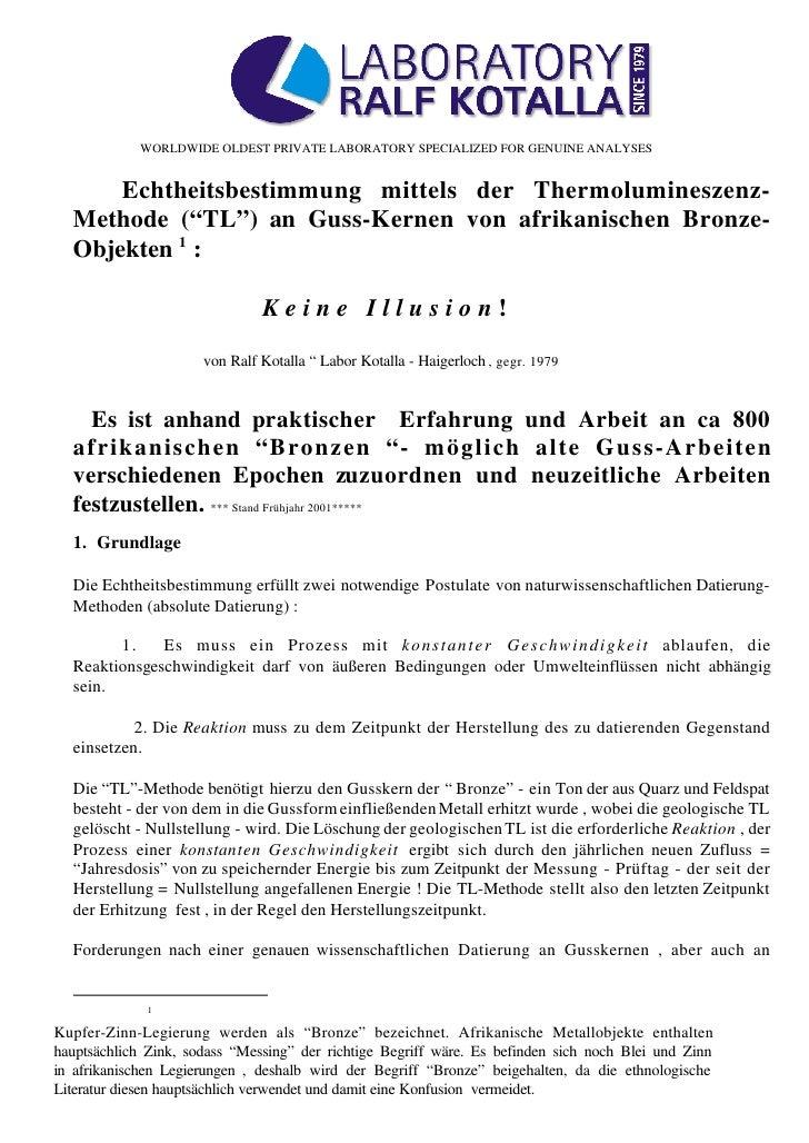 WORLDWIDE OLDEST PRIVATE LABORATORY SPECIALIZED FOR GENUINE ANALYSES      Echtheitsbestimmung mittels der Thermolumineszen...
