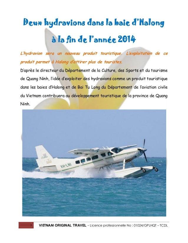Deux hydravions dans la baie d'Halong à la fin de l'année 2014 L'hydravion sera un nouveau produit touristique. L'exploita...
