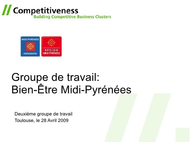 Groupe de travail:  Bien-Être Midi-Pyrénées Deuxième groupe de travail Toulouse, le 28 Avril 2009
