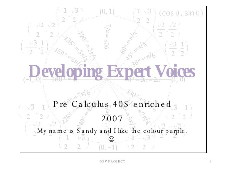 Developing Expert Voices Pre Calculus 40S enriched 2007 My name is Sandy and I like the colour purple.     DEV PROJECT