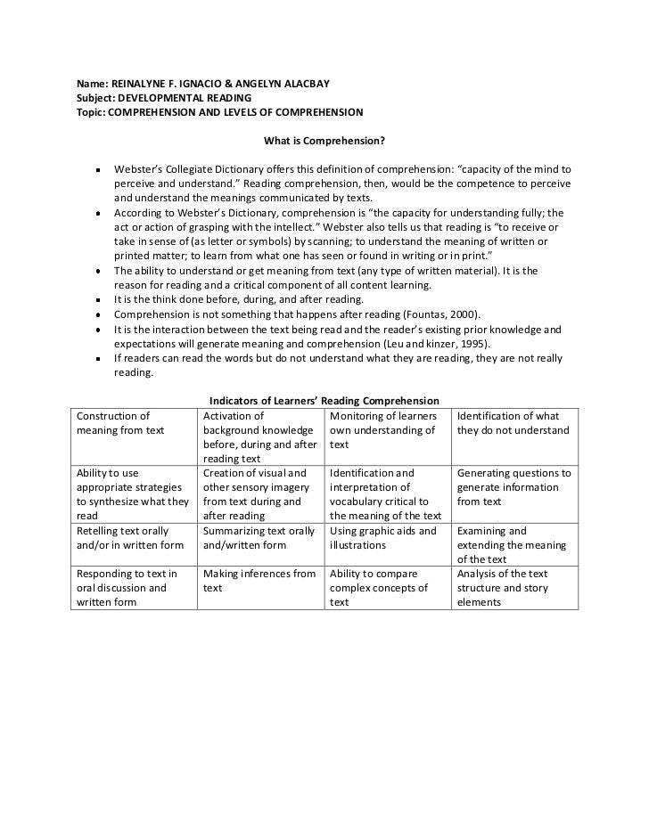 Name: REINALYNE F. IGNACIO & ANGELYN ALACBAY<br />Subject: DEVELOPMENTAL READING <br />Topic: COMPREHENSION AND LEVELS OF ...