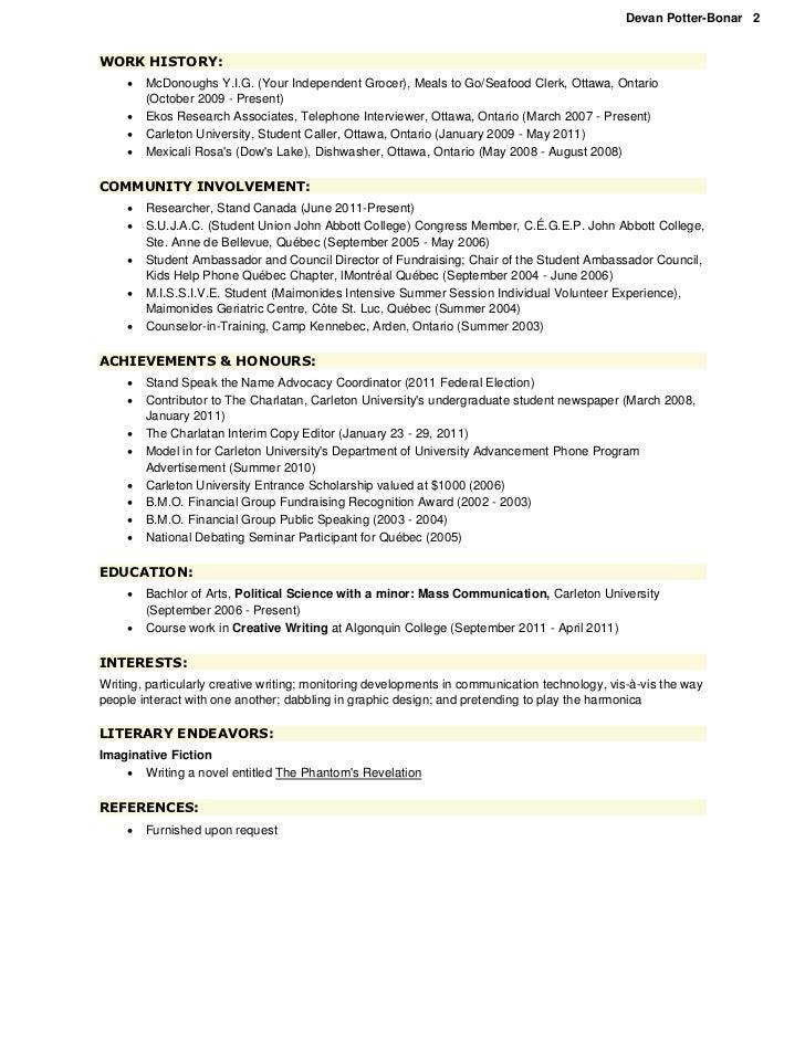 Potter-Bonar, Devan - Resume [Oct. 2011]