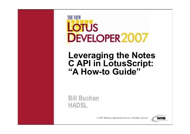Dev buchan leveraging the notes c api