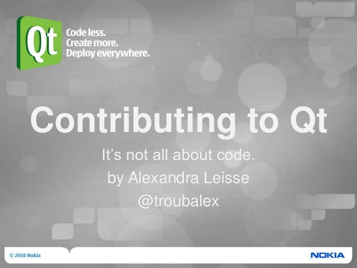 Contributing to Qt: It's not all about code