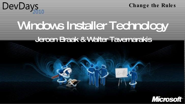 Dev Days Windows Installer Technology Final