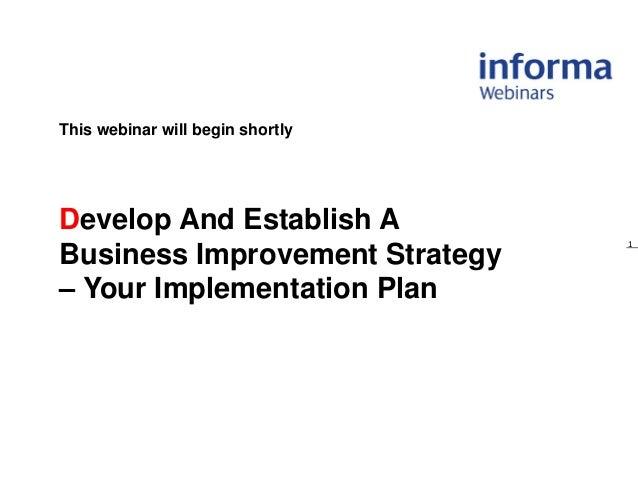 Business improvement plan