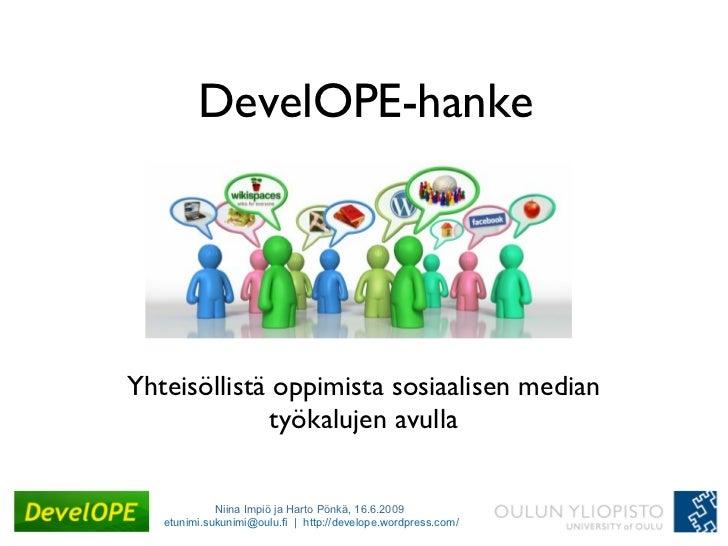 DevelOPE-hanke Yhteisöllistä oppimista sosiaalisen median työkalujen avulla