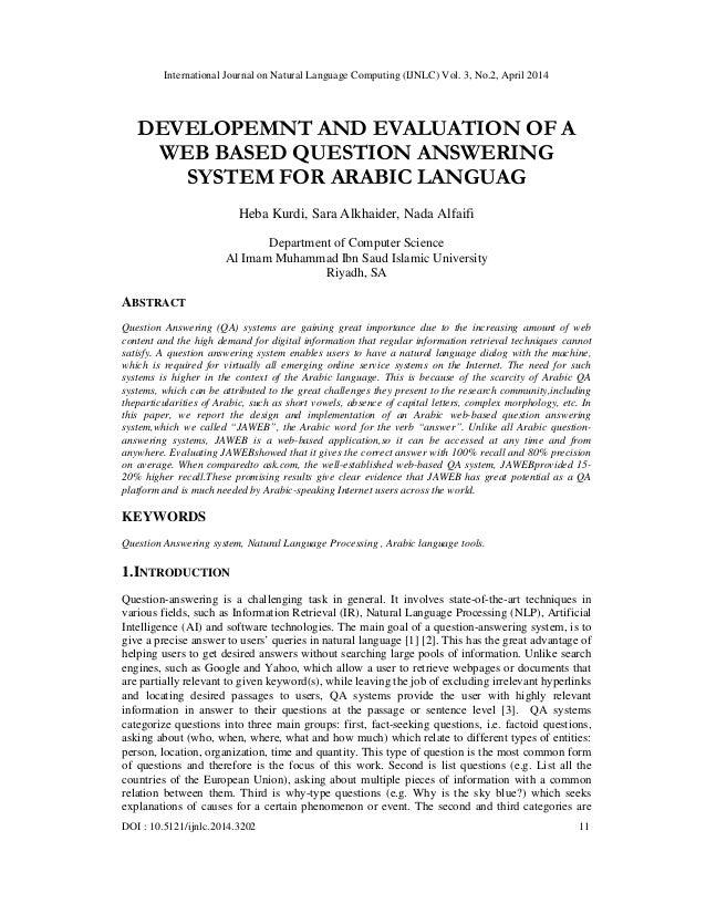 International Journal on Natural Language Computing (IJNLC) Vol. 3, No.2, April 2014 DOI : 10.5121/ijnlc.2014.3202 11 DEVE...